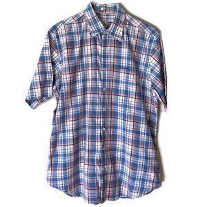 Peter Millar Mens Blue Plaid Casual Button Down Shirt Large